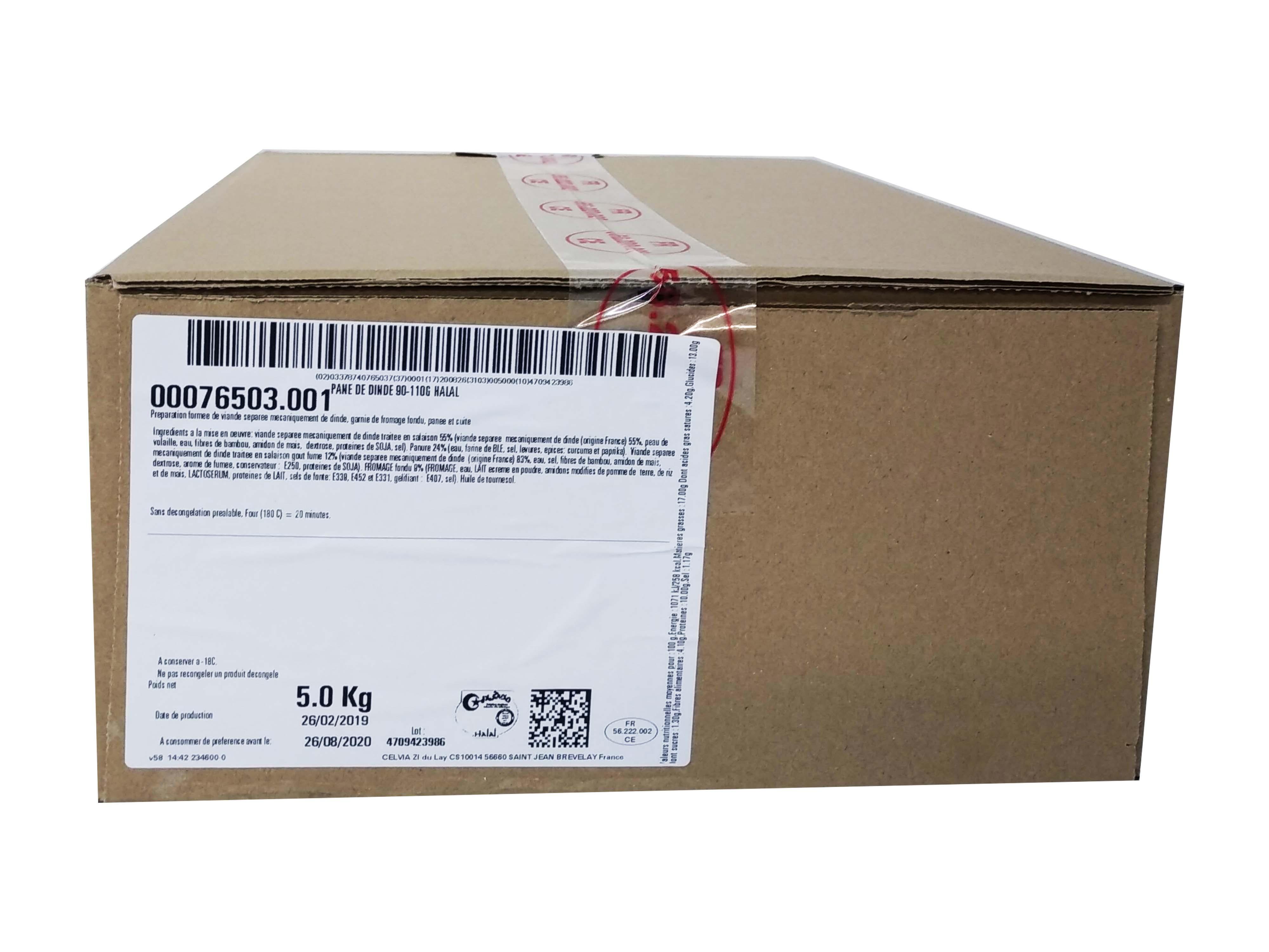 Photo du produit divial les surgelés : CORDON BLEU/PANE DE DINDE HALAL 5 KGS